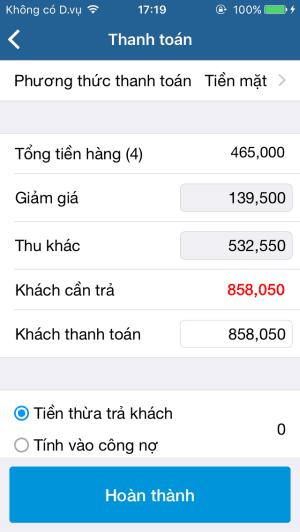 Thanh toán trực tiếp trên điện thoại