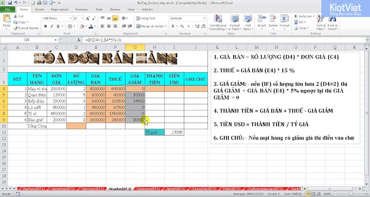Quản lý hóa đơn bằng Excel