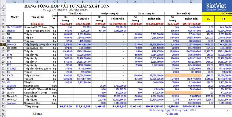 Báo cáo nhập xuất tồn trên file Excel