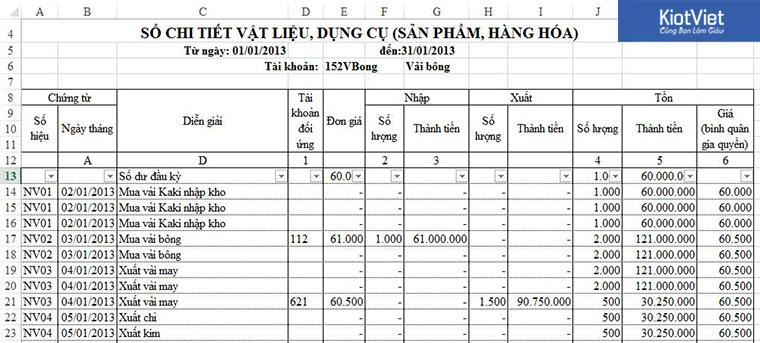 Sổ chi tiết vật liệu, hàng hóa trong file Excel