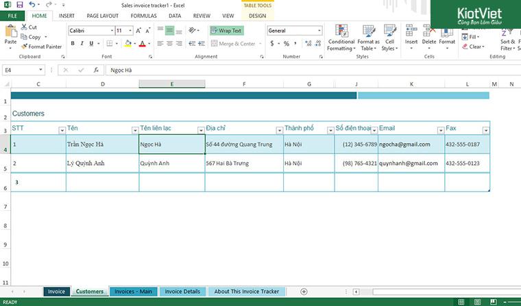 Mẫu file excel quản lý khách hàng