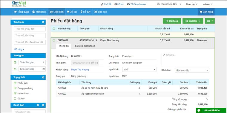 Quản lý đơn hàng bằng phần mềm KiotViet