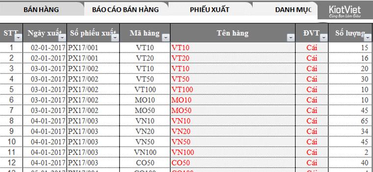 Phần mềm kế toán bàn hàng Excel