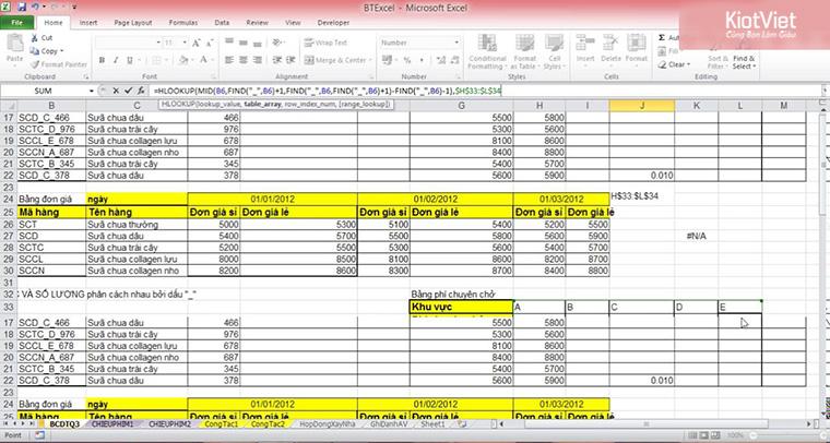 Quản lý quán cà phê đơn giản bằng Excel
