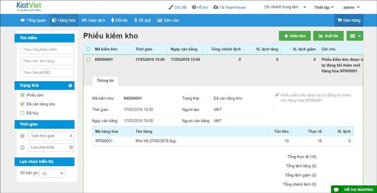 Tính năng kiểm kho của phần mềm KiotViet