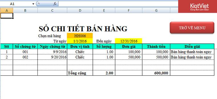 Mẫu file Excel quản lý bán hàng