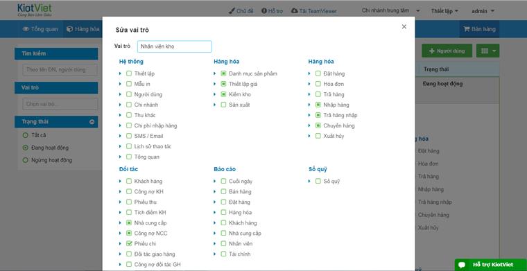 Tính năng phần quyền nhân viên của phần mềm KiotViet