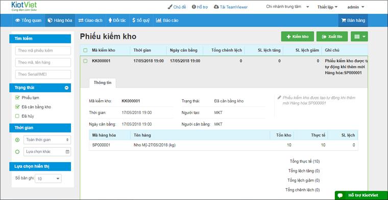 Phiếu kiểm kho trong phần mềm KiotViet
