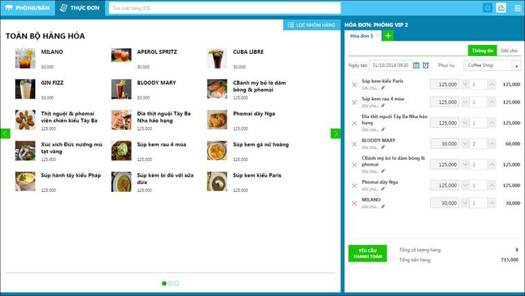 Màn hình order đặt hàng của phần mềm KiotViet