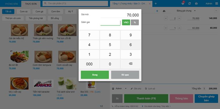 Tính năng điều chỉnh hóa đơn của phần mềm tính tiền nhà hàng KiotViet