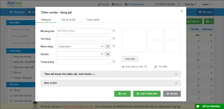 Nhập thông tin hàng hóa trên phần mềm KiotViet