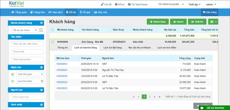 Phần mềm KiotViet với tính năng ghi nhận lịch sử mua hàng