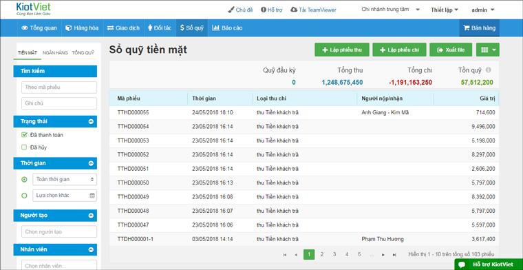 Phần mềm bán hàng KiotViet hỗ trợ thu chi tiền mặt