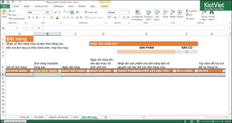 Mẫu file Excel quản lý đơn hàng