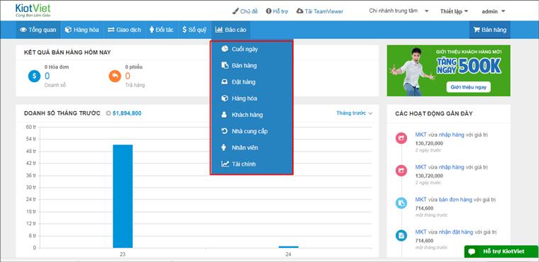Hệ thống báo cáo của phần mềm KiotViet