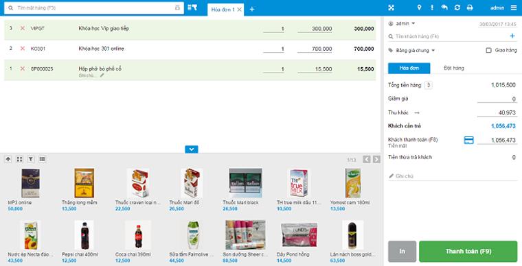 Màn hình bán hàng của phần mềm KiotViet