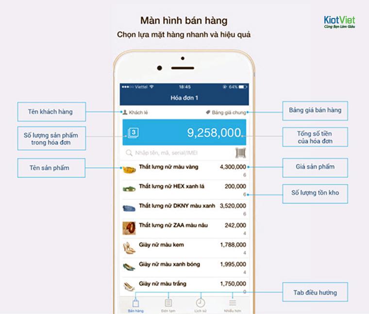 Giao diện bán hàng đơn giản trên điện thoại của phần mềm KiotViet