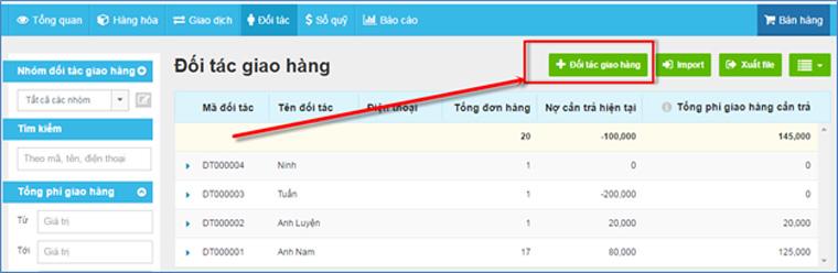 KiotViet cho phép người dùng thêm thông tin đối tác giao hàng