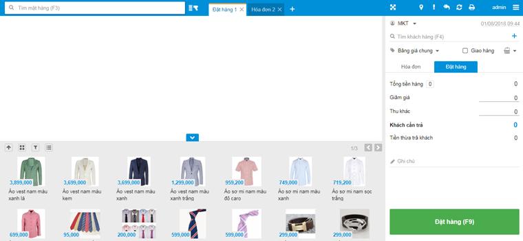 Màn hình bán hàng trực quan của phần mềm KiotViet