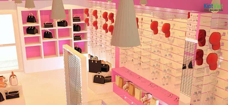 Không gian cửa hàng phụ kiện thời trang cần rất nhiều quầy kệ