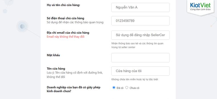 KiotViet hỗ trợ đăng ký gian hàng Tiki nhanh chóng