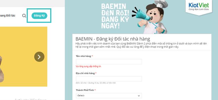 Cửa sổ form đăng ký đối tác xuất hiện