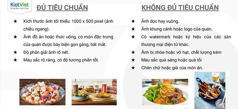 Go Food có những yêu cầu riêng về chất lượng hình ảnh