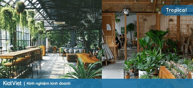 Phong cách quán cafe kiểu Tropical
