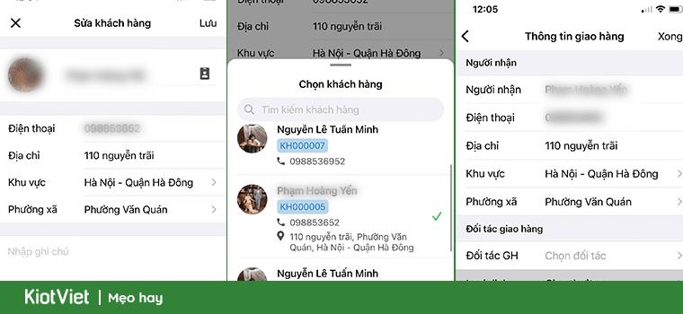 ứng dụng chốt đơn có thể lưu thông tin khách hàng