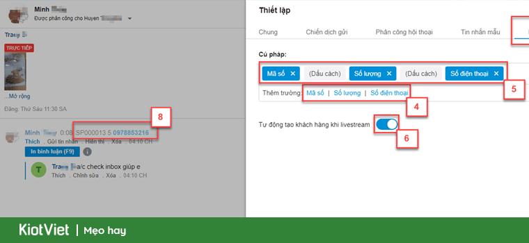 ứng dụng chốt đơn khi livestream theo cú pháp