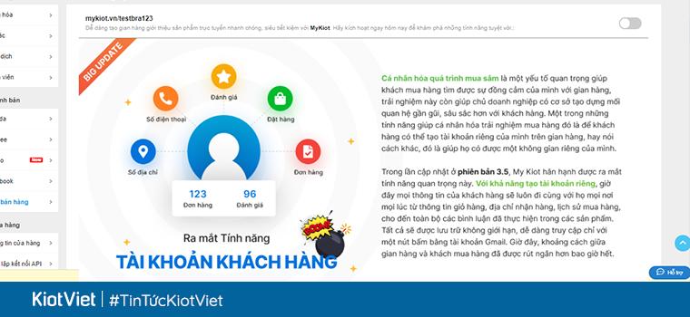 KiotViet ra mắt tính năng tài khoản khách hàng