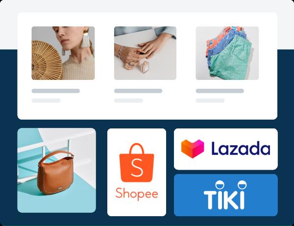 Đồng bộ với các sàn TMĐT Shopee - Tiki - Lazada - Sendo